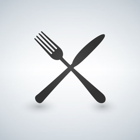 Fork and Knife icon vector, solid illustration, pictogram isolated on gray Çizim