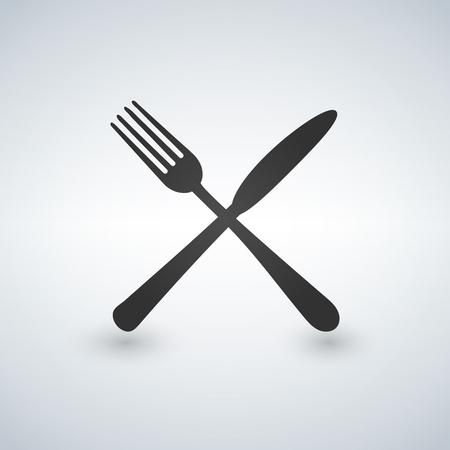 Wektor widelec i nóż, solidna ilustracja, piktogram na szarym tle Ilustracje wektorowe