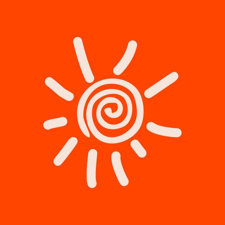 Hand drawn spiral shinny sun. Vector graphic illustration on orange background Illustration