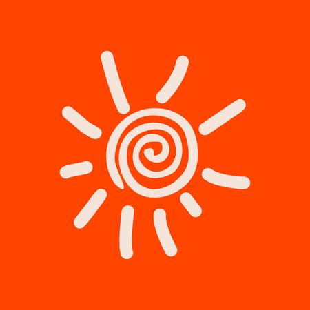 Hand drawn spiral shinny sun. Vector graphic illustration on orange background.