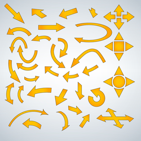 Yellow Arrow Icon Set, vector