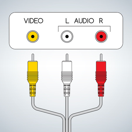 Input rca audio video jacks with cable vector illustration