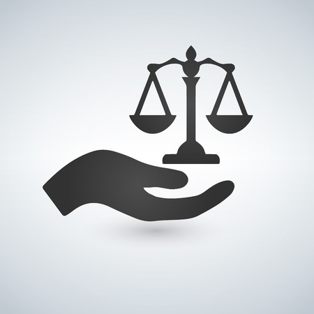 scales in his hand icon. Bring justice concept. Vector illustration isolated on white background.