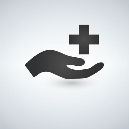 Vector medical care Icon hand and cross, isolated on white background Illustration