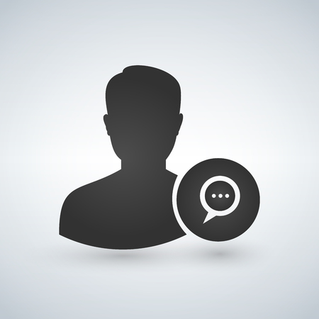 Man User avatar Icon - Person Profile With Chat Bubble Glyph Vector illustration isolated on white background  イラスト・ベクター素材