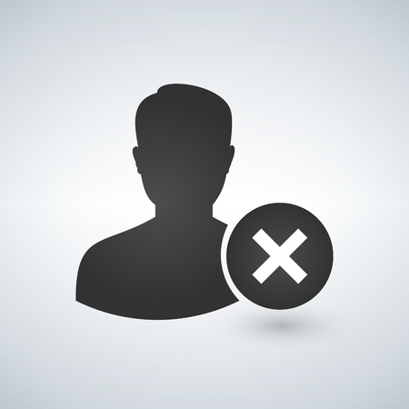 User profile sign web icon with delete glyph. Vector illustration design element Illustration