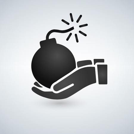 Hands holding bomb. Black and white. Vector illustration isolated on white background