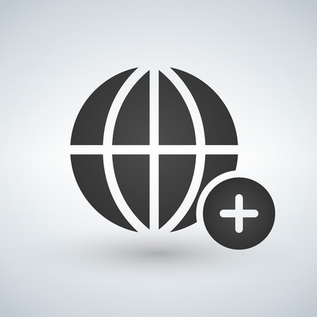 minimal globe icon with add circle, vector illustration isolated on white background Vectores