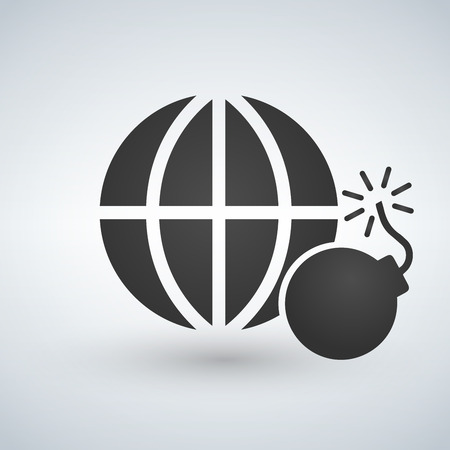 minimal globe icon with bomb, no to terrorism, exploding, nuclear, vector illustration isolated on white background