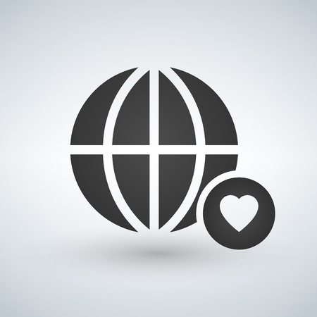 minimal globe icon with heart in circle, vector illustration isolated on white background Vectores