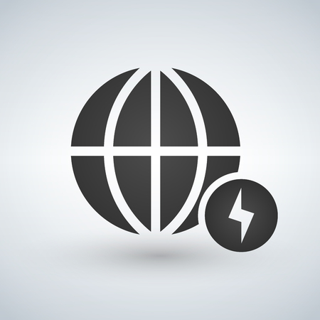 Minimal globe icon with charging icon in circle, vector illustration isolated on white background.