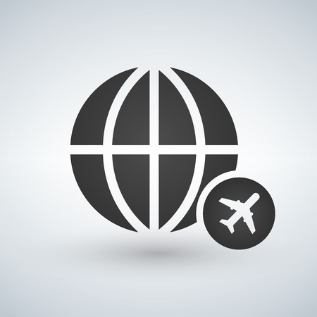 minimal globe icon with plane in circle, vector illustration isolated on white background