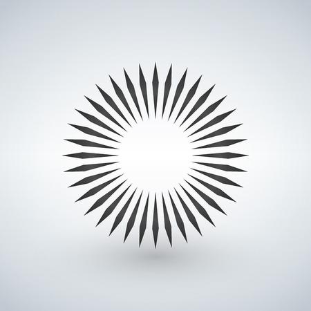 Geometric circle element made of radiating shapes. Abstract circle shape. Vector illustration.