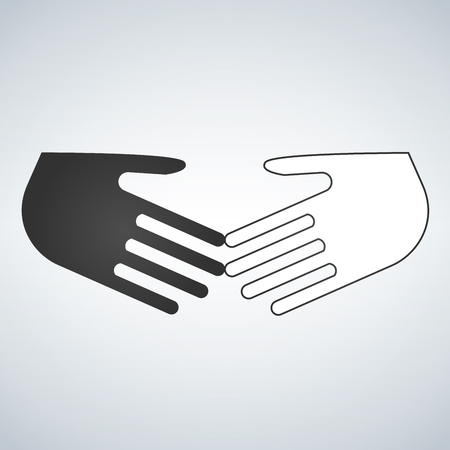Stop racism flat icon. Black and white shaking hands. Friendship, global international business shake hand. Vector illustration isolated on a background. No to racism. Vector