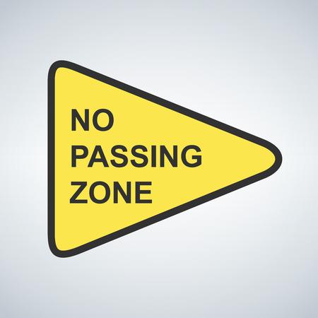 US road warning sign No passing zone vector