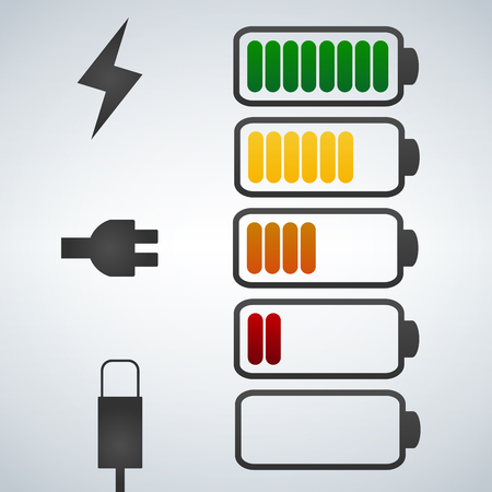 Color Vector battery icon. Charge from high to low. plug and lightning icon. Stock Illustratie