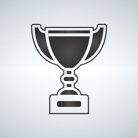 Trophy cup, award, vector icon in flat style. Illustration