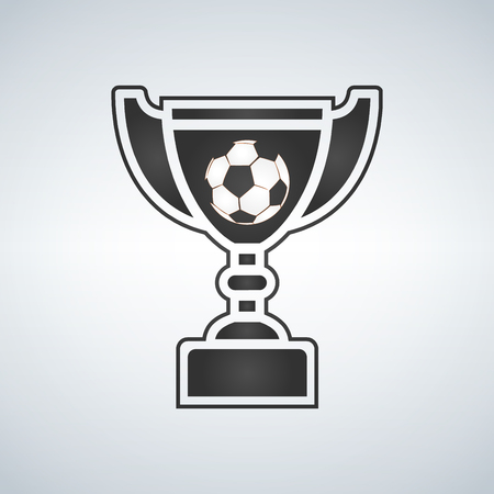Soccer Trophy cup, award, vector icon in flat style. Illustration