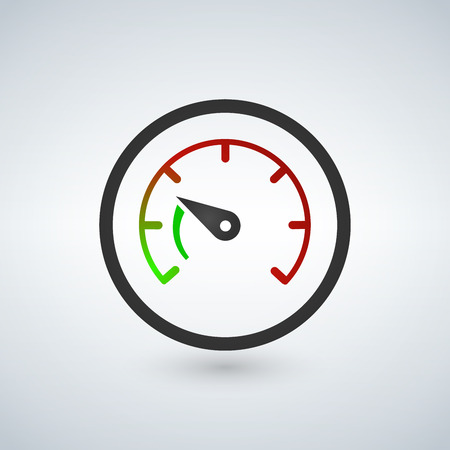 The tachometer, speedometer and indicator icon. Performance measurement symbol. Flat Vector illustration. Illustration