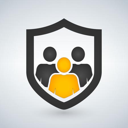 man, people shield, insurance, icon, vector illustration