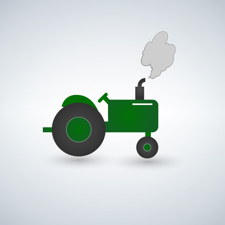 Green tractor flat vector illustration. Heavy farm machinery for field work. Green tractor with smoke side view isolated on white background.