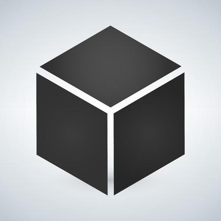 Drie dimensionale of 3D-kubus hexahedron platte vector pictogram voor apps en websites