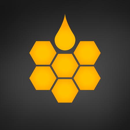 honeycomb with honey drop vector illustration