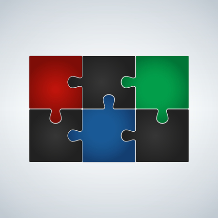 Six step puzzle colorful infographic, vector illustration. Ilustrace