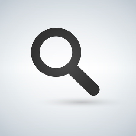Magnifying glass icon, vector magnifier or loupe sign