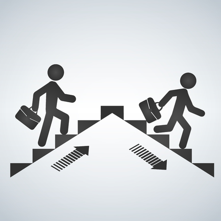 Man going up the stairs, man going down staircase symbol. Vector illustration