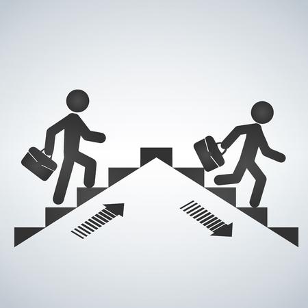 Homem subindo as escadas, homem descendo o símbolo de escadaria. Ilustração vetorial