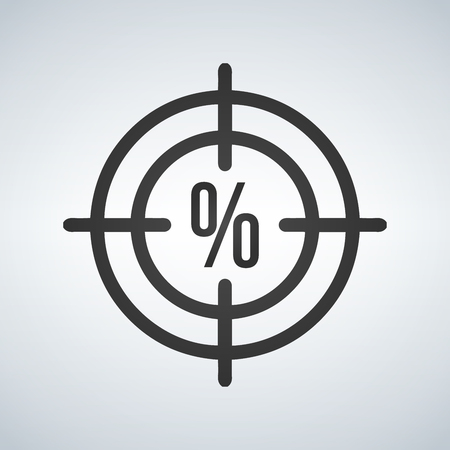 Illustration of a cross hair icon with a discount percentage sign Illustration