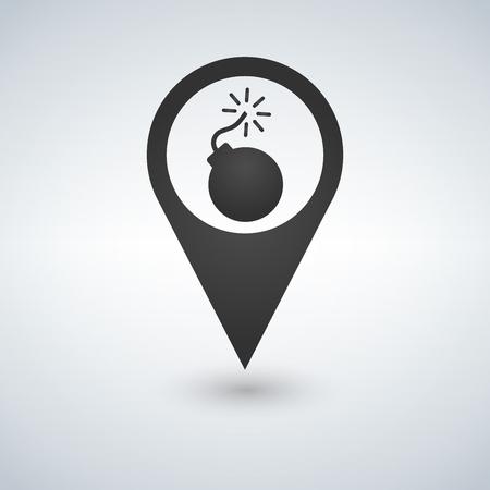 Bomb map pointer icon, vector illustration.