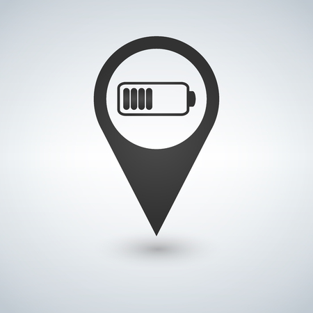 Battery vector icon in map pointer for webdesign and smartphone applications