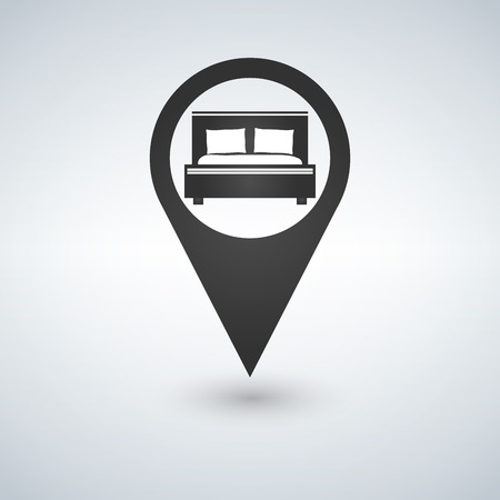 Pinpoint hotel accommodation, map point isolated icon with bed symbol, vector illustration.