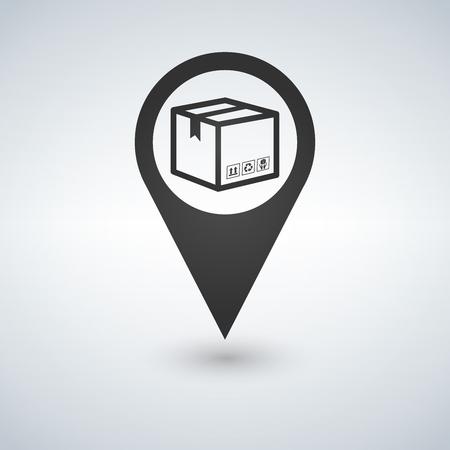Bezorgdiensten, verhuizing, vrachtverzending of distributie, logistiek en transport illustratie concept. doos met kaartpictogram aanwijzer. Platte lijn vector voor web en mobiel ontwerp. Stock Illustratie