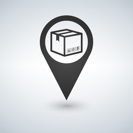 Delivery services, relocation, cargo shipment or distribution, logistics and transportation illustration concept. box with map pointer icon. Flat line vector for web and mobile design.