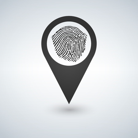 Pin icon with fingerprint vector illustration.