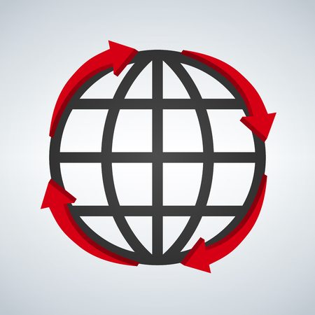 Round red arrows around world planet icon digital design isolated on white, vector illustration. Illustration