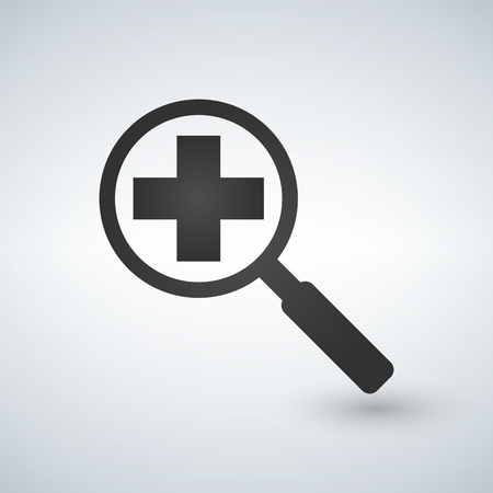 Magnifying glass with medical cross icon