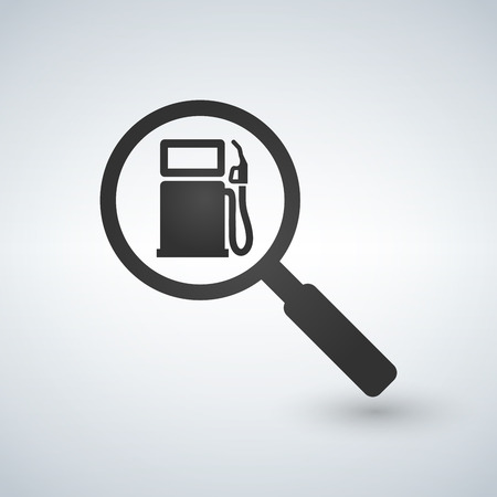 Fueling or gas station in magnifying glass. Search concept, vector illustration