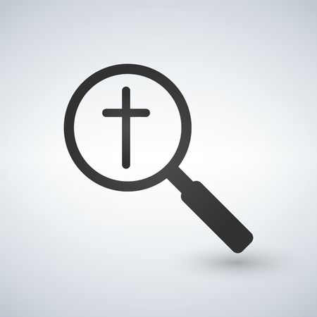 Magnifier icon with a christian cross