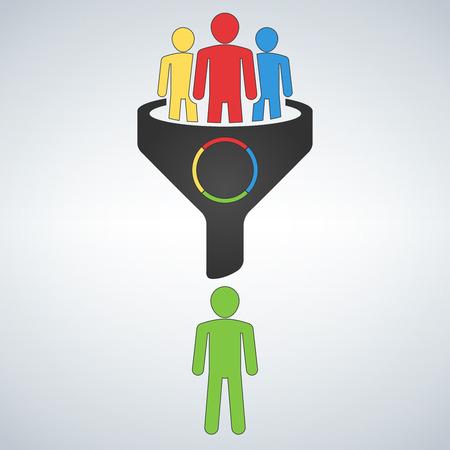 Sales funnel vector line icon. Internet marketing conversion concept