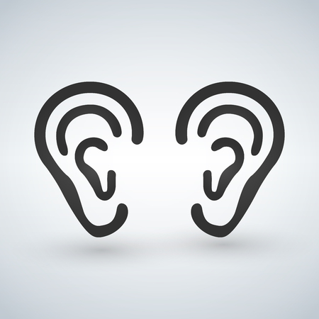 Ear vector icon. Black pictogram isolated on a white background