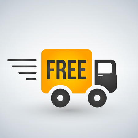 Fast and free shipping delivery truck flat icon for apps and websites Illustration
