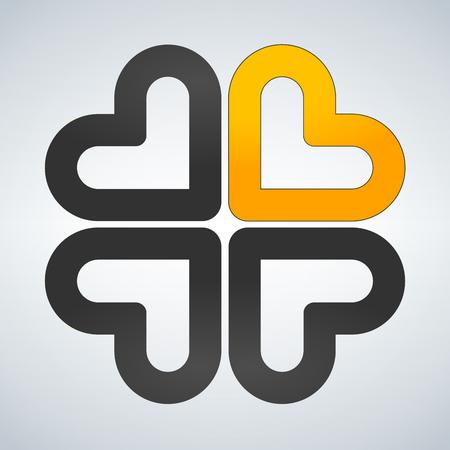 Four hearts social vector symbol. Heart cross logotype. Abstract flower leaf Illustration