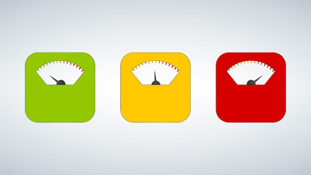 Three Body weight scales. Scale, measure, weight icon. Isolated. Flat design. Vector illustration green yellow red