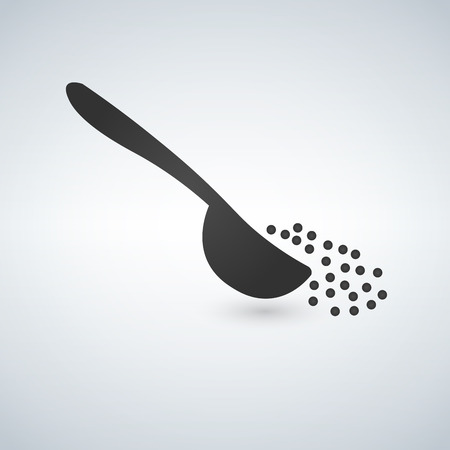 Sugar or salt pouring out of spoon. Menu concept. Vector illustration in flat design. Иллюстрация