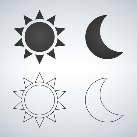 Icona piana e lineare di sole e luna. . Icona di vettore per il web design, mobile e infografiche. Illustrazione vettoriale isolato su sfondo bianco Vettoriali