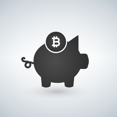 Piggy bank, bitcoin icon. Crypto currency saved, moniy security concept for web design, banner, mobile app. Payment Cryptocurrency logo, Minimalist flat style, sign isolated on white